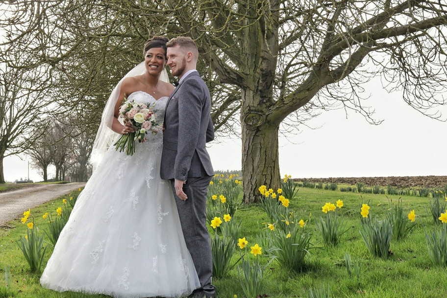 The daffodils are out at Violet & Joe's wedding at All Manor Of Events
