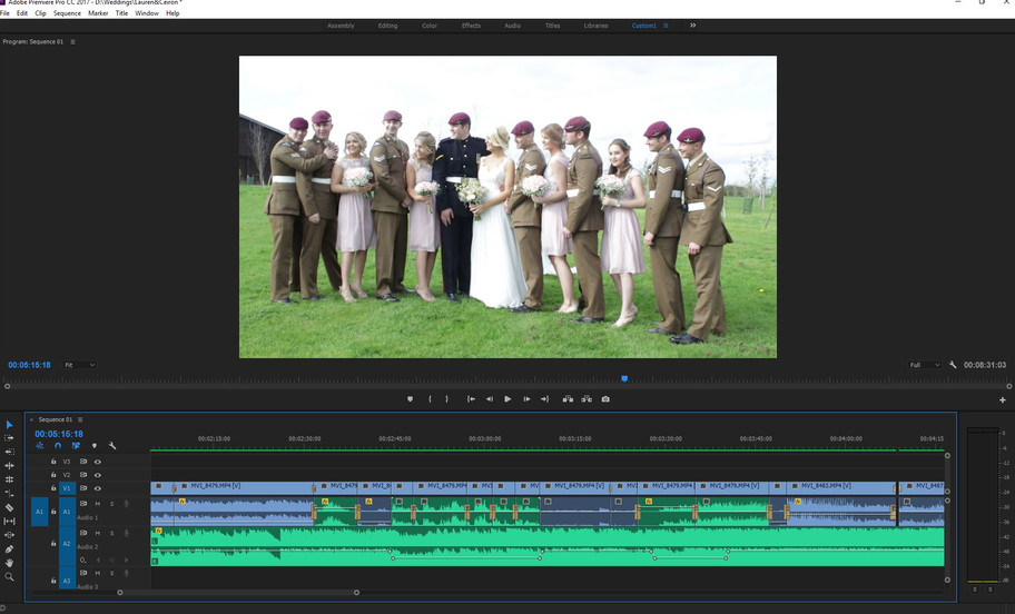 Editing the sound on Lauren & Ceiron's video, then onto colour correction before it's co
