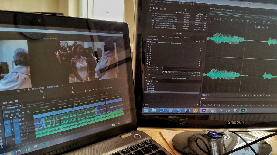 Onto the sound edit of Leanne & Carl's wedding video. Can get a bit tricky!