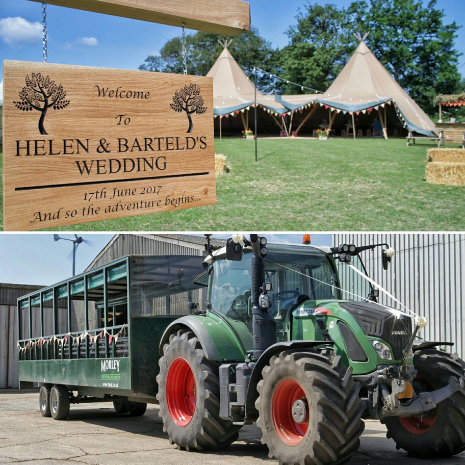 Beautiful day at Helen & Barteld's wedding including a tractor trailer ride to a picturesque