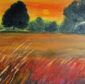 Sunset Over Italian Fields
