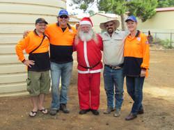 Santa with big helpers