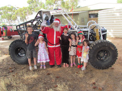 Santa with little helpers