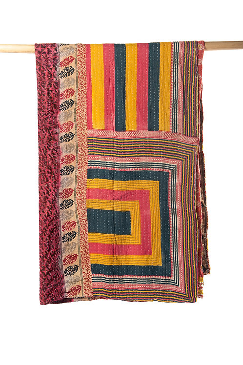 one of a kind reversible quilt hand crafted in India
