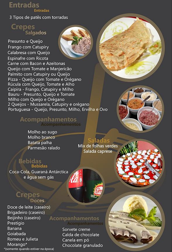 Cardápio Crepe Francês - Cardápio único com 22 sabores sensacionais