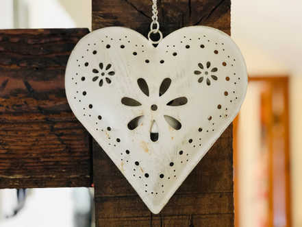 The Hayloft, heart decoration, The Old Mill Holiday Cottages, North Wales