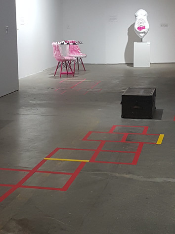 """View of """"movement of pieces eating each other"""" and """"invisible, visible"""" at Buffalo Arts Studio"""