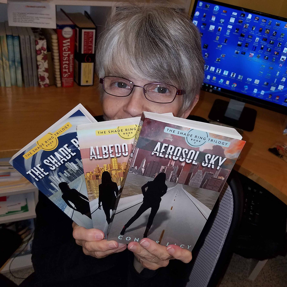 "Author Connie Lacy with ""The Shade Ring Trilogy"""