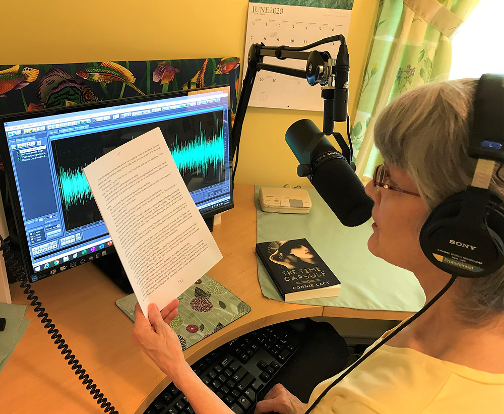 Author Connie Lacy records audiobook