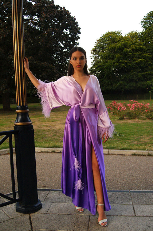 Angelique silk robe with ostrich feathers