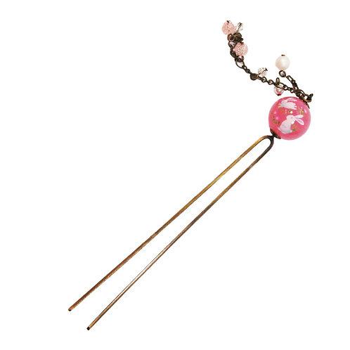 Kanzashi boule de verre rose