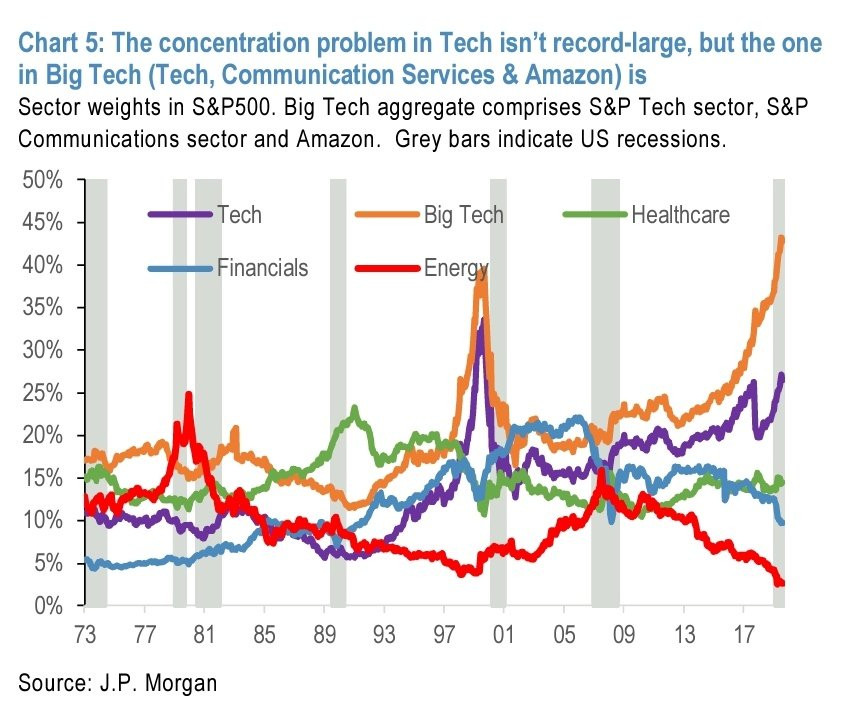 chart shows market cap weighting of big tech and other sectors