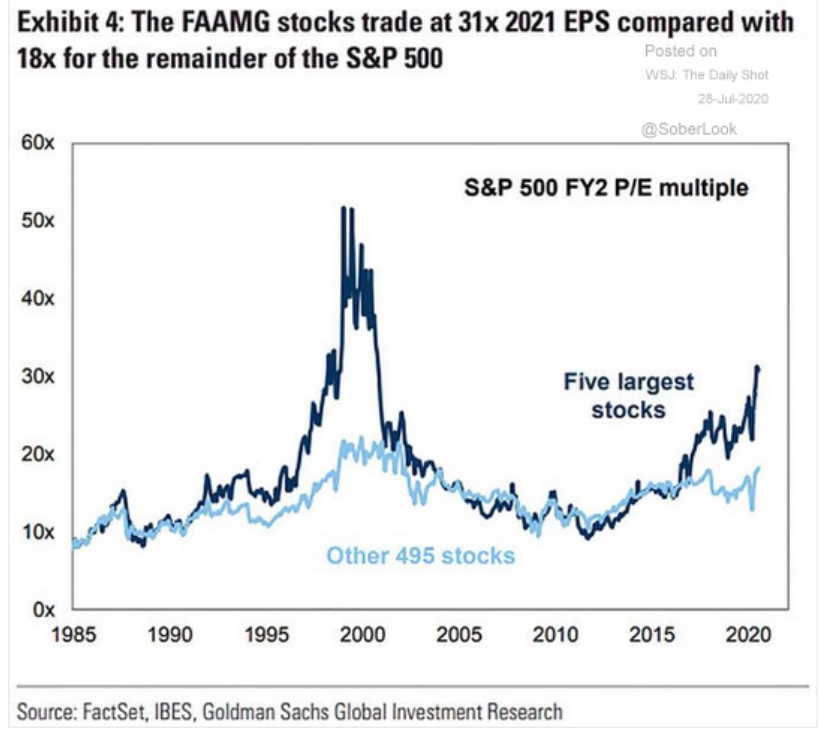 tech stock valuations the big 5 and the 495