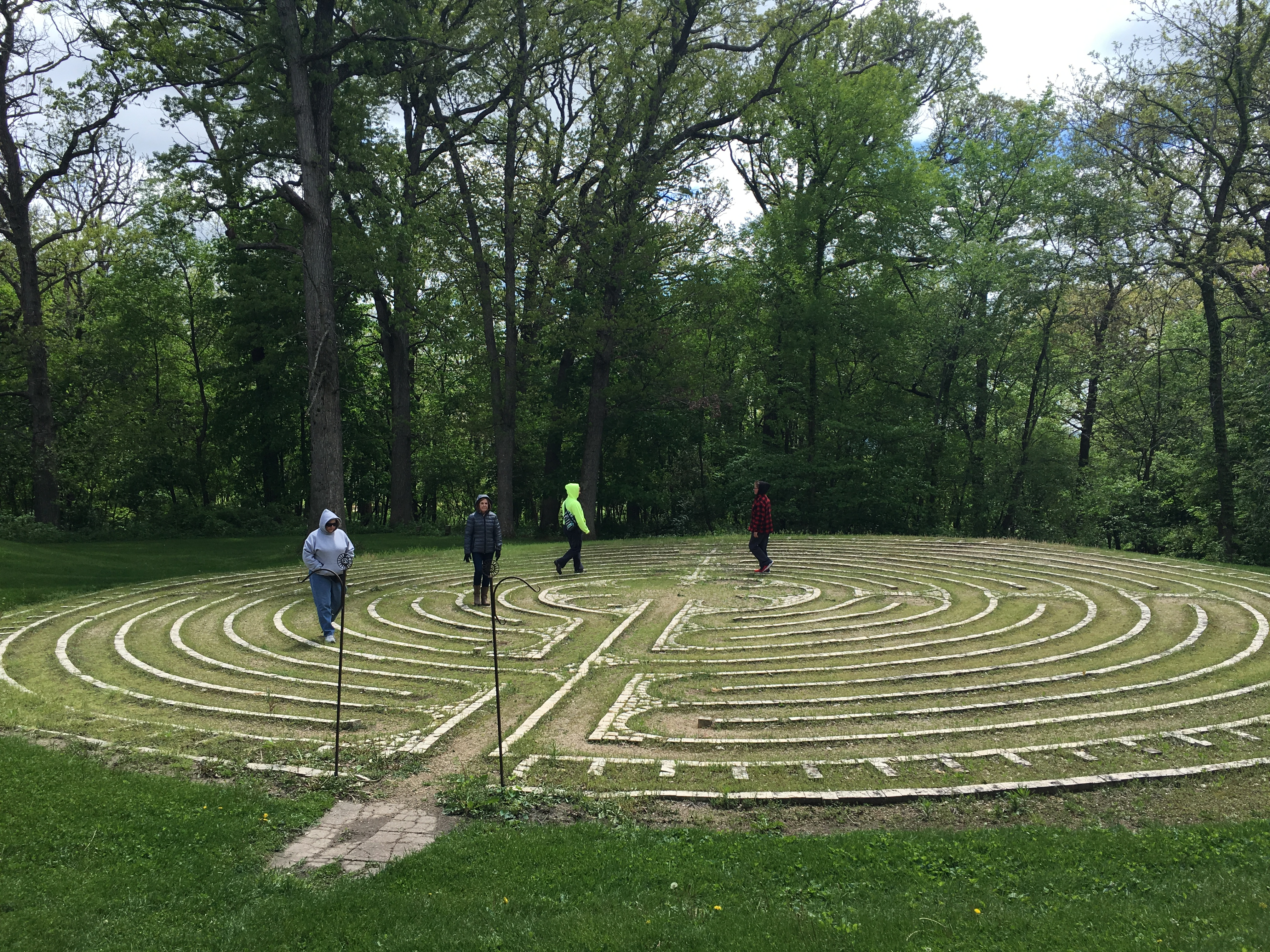 Walking the outdoor labyrinth