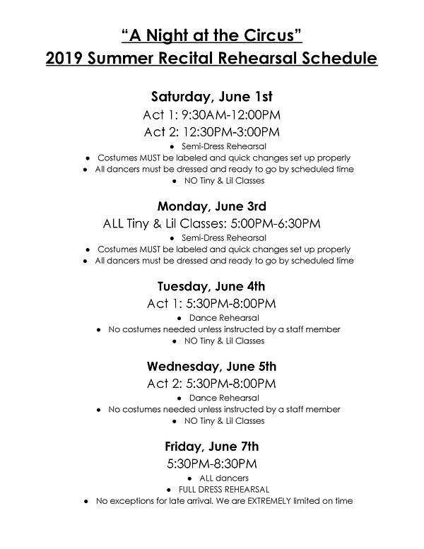 2019 Summer Recital Rehearsal Schedule-p