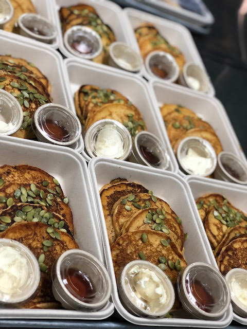 Vegan Pumpkin Pancakes w/raw pumpkin seeds