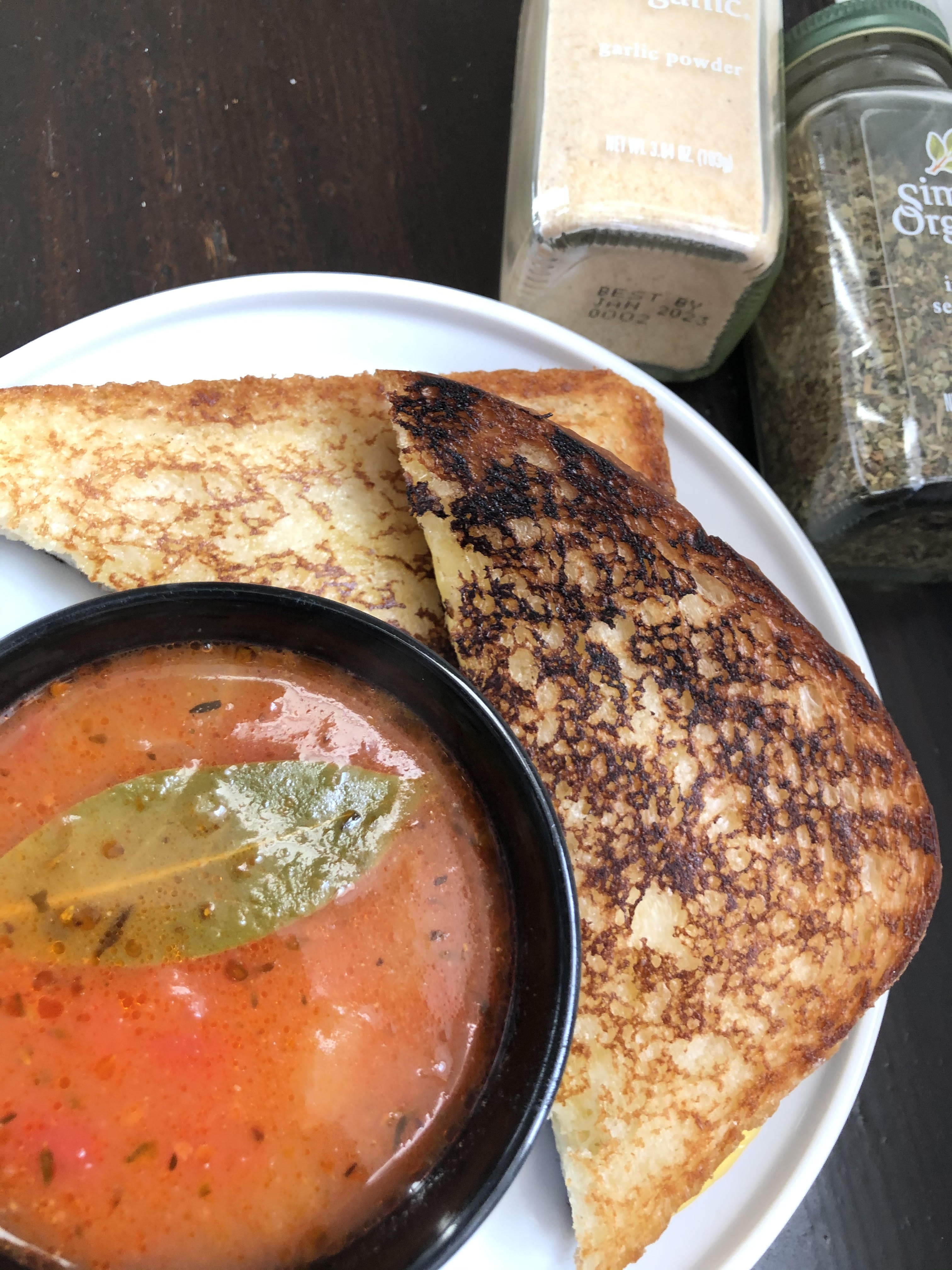 Homemade tomato soup & grilled cheese sandwish