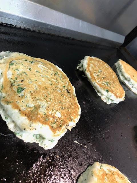 homemade vegan fresh kale pancakes
