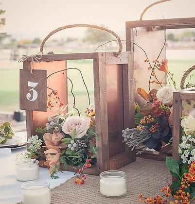 Wood & Copper Centerpiece Set