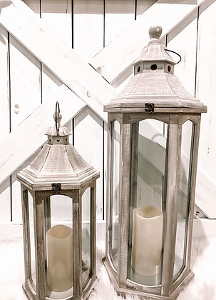 "White Wood Lantern, Set of 2 - ""Charolette"""