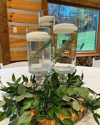 3 Piece Stemmed Tiered Glass Cylinder Vases