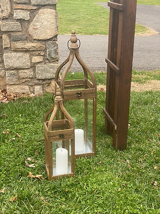 "Wood Lanterns, Set of 2 - ""Cheyenne"""