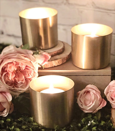 "Brushed Gold 3.5"" Votive Set"