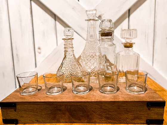 Whiskey Bar Decanters & Shot Glass Staging Set