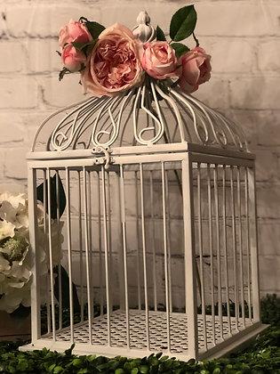 White Large Bird Cage Card Box