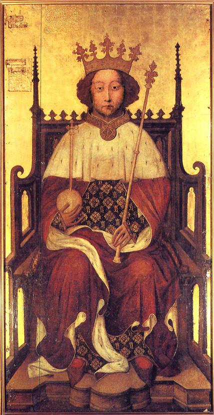理查一世 (Richard I ; 1157年9月8日-1199年4月6日)兩手持權杖的畫像
