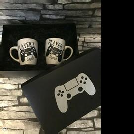 Double personalised mug set in gift box £20