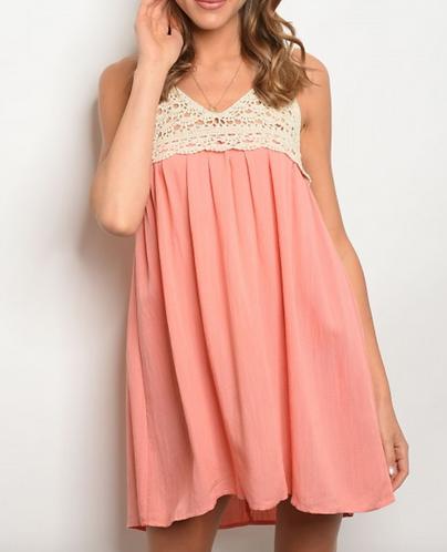 Coral Crochet Summer Dress