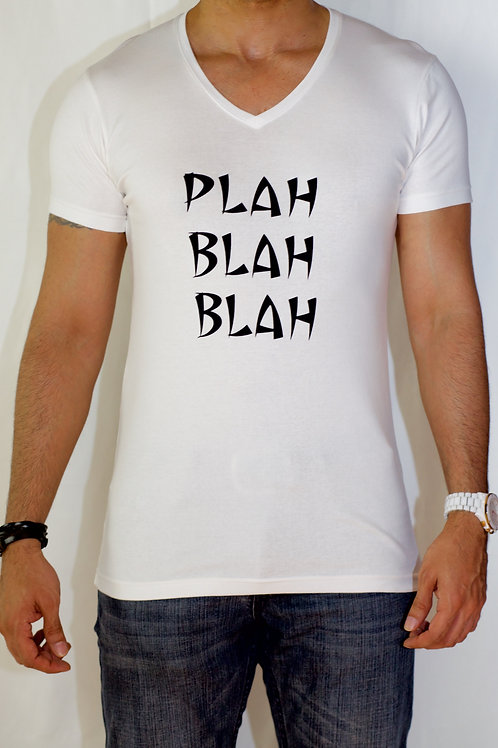 Men's White Tee with Black Font