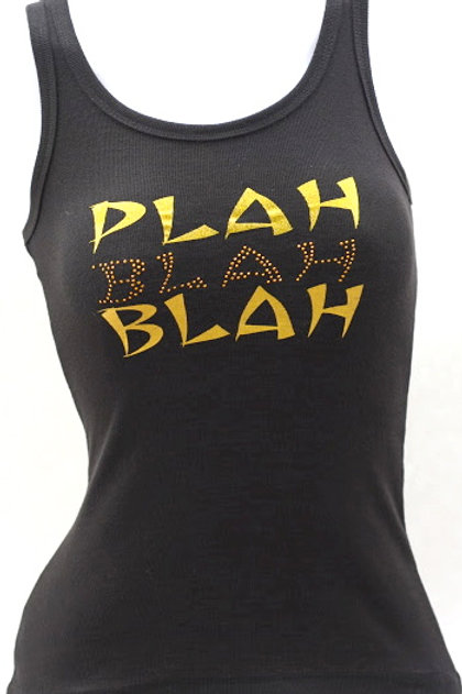 Women's Black Tank with Gold Metal Studs