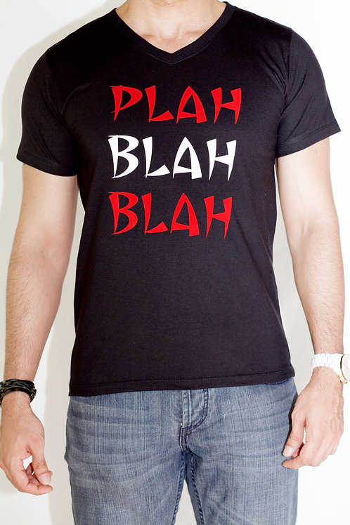 Men's Black Tee with Red and White Font