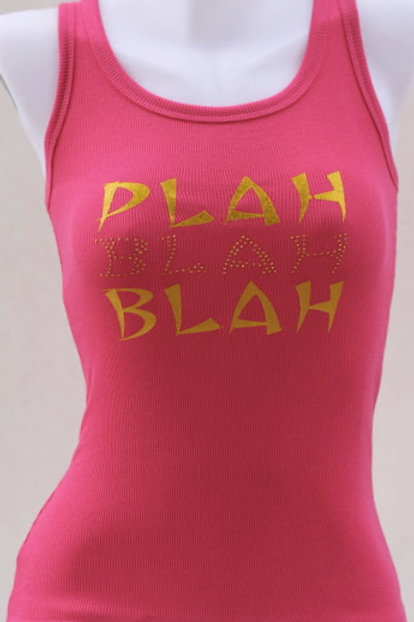 Women's Pink Tank with Gold Metal Studs
