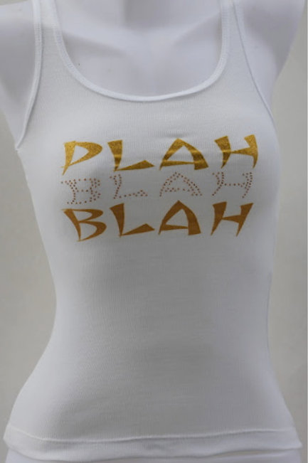 Women's White Tank with Gold Metal Studs