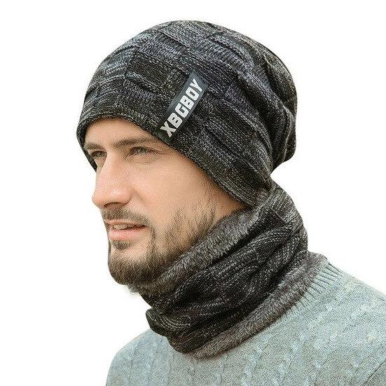 Winter Men Knitted Hat Headgear Bib suit Caps Plus Velvet Thick Wool