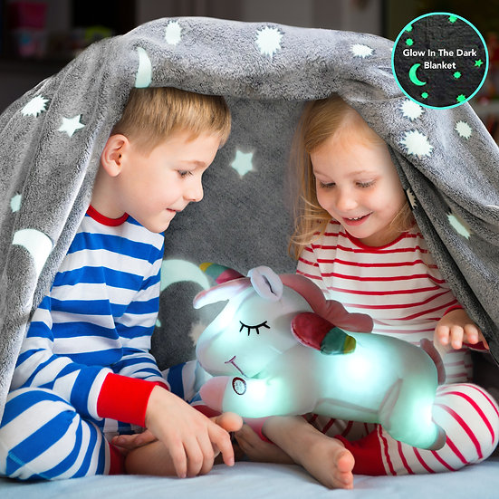 Glow in the Dark Blanket and Pillow Set-Unicorn Pillow