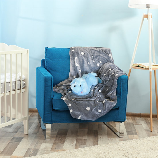 Glow in the Dark Blanket and Pillow Set, Moon & Stars Throw Blanket W/Dog Pillow