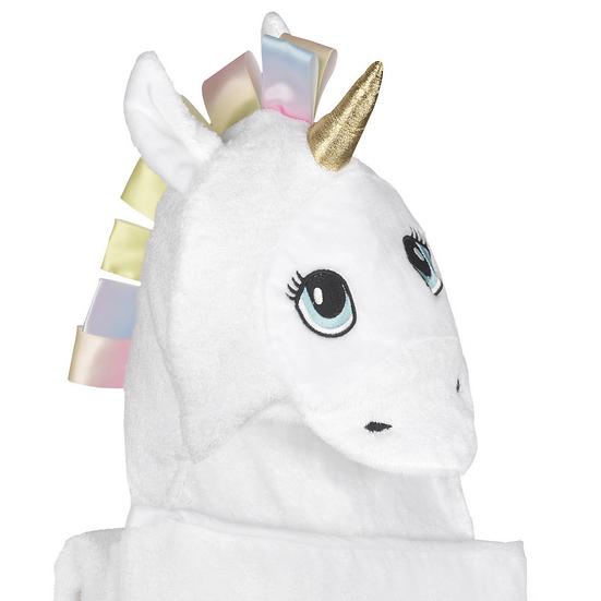 Baby Bamboo Hooded Towel, 3D Unicorn Hood in White, Fits Newborns up