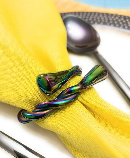 Rainbow Twist Set of 6 Napkin Rings