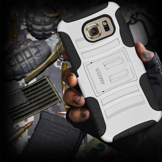 AMZER® Hybrid Kickstand Case - Black/ White for Samsung Galaxy S6