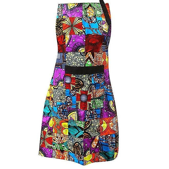 Handcrafted Kitenge Patched Kitchen Apron