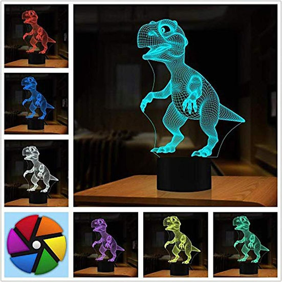 3D Dinosaur Kids LED Lamp Touch Control 7 Colors Night Light Halloween