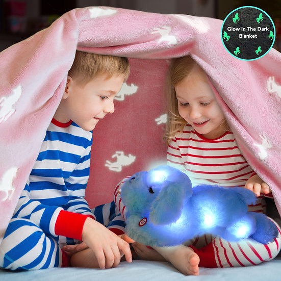 Unicorn Glow in the Dark Blanket and Pillow Set W/Dog Pillow