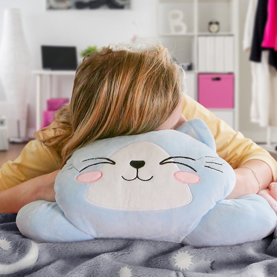 Glow in the Dark Blanket and Pillow Set, Moon Star W/Cat Neck Pillow