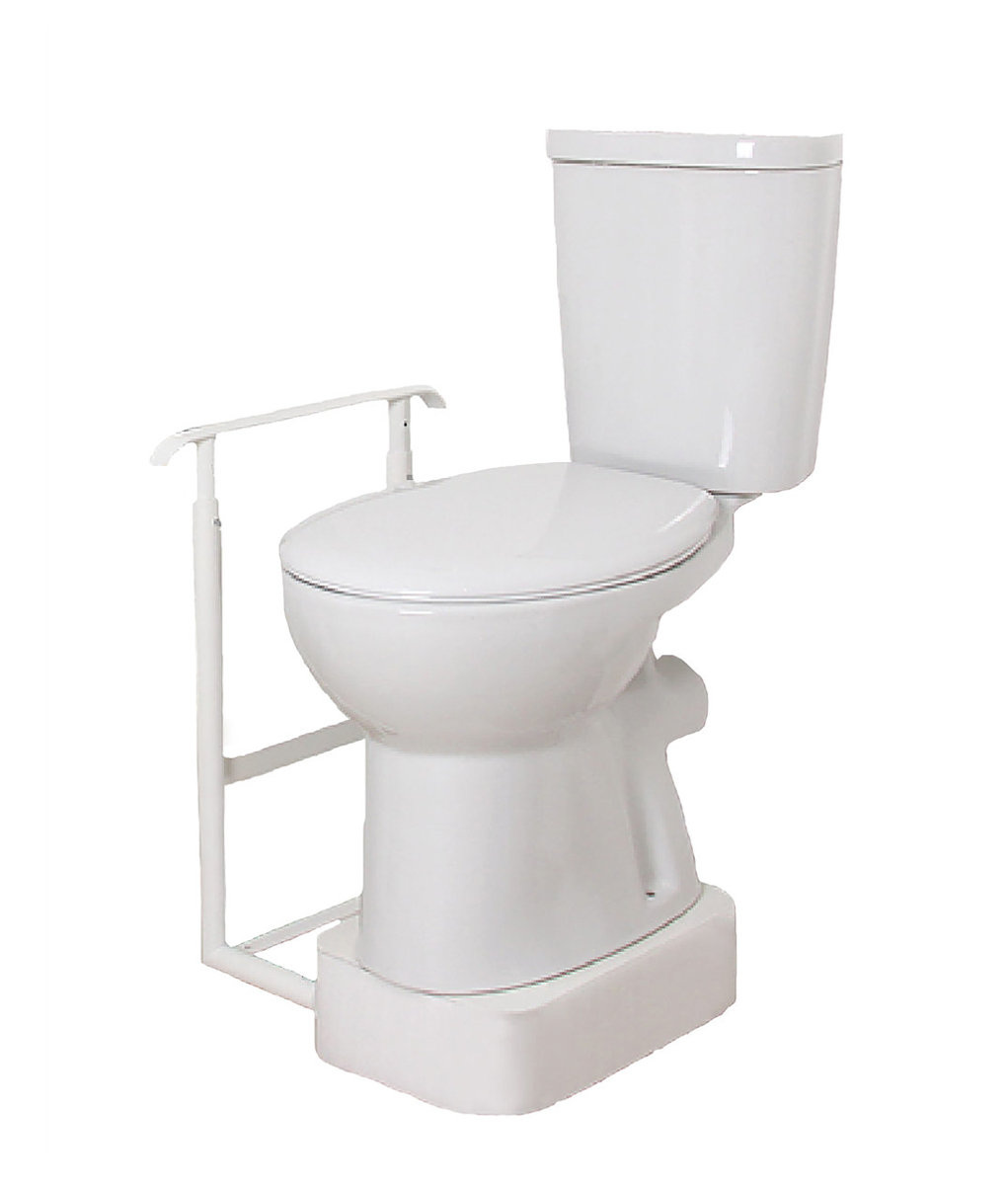 Height Adjustable Toilet Riser & One Flat Standard Handrail |  dignity-lc-services