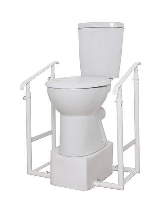 Height Adjustable Toilet Riser & Two Tilted Adjustable Handrails