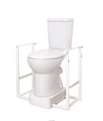 Height Adjustable Toilet Riser & Two Flat Standard Handrails